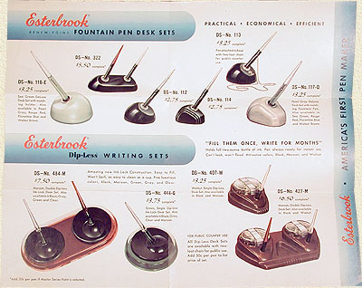 1950 Esterbrook Desk Set Color Brochure